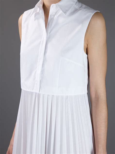 Shirt Pleated Skirt lyst christopher pleated skirt shirt dress in white