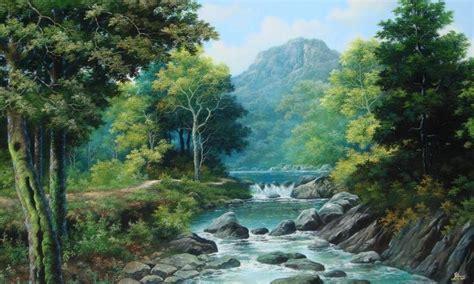 50 gambar ilustrasi lukisan pemandangan alam pantai gunung keren