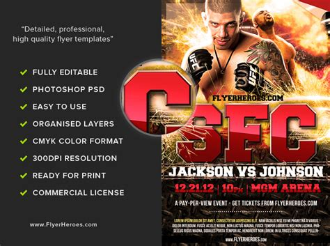 free boxing fight card template free mma fight flyer template flyerheroes