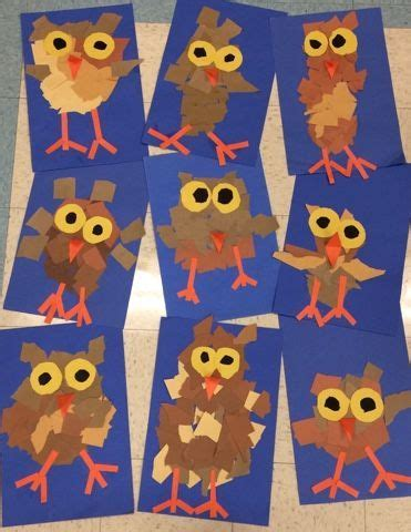 kindergarten lesson on texture and pattern owls cute fall craft for kids torn paper owls art and
