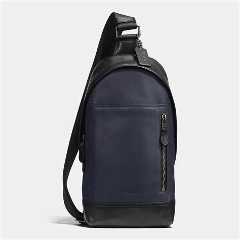 calf leather small sling bag coach manhattan sling pack in sport calf leather in black