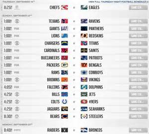 printable nfl schedule week 5 nfl regular season schedule 2014 printable schedule