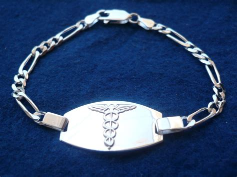 "925 STERLING SILVER MEN'S WOMEN'S MEDICAL ALERT ID BRACELET/ 7"" 8"" free engrave   eBay"