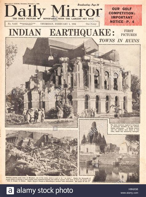 Newspaper Report Writing On Earthquake In Gujarat by 1934 Daily Mirror Front Page Earthquake In India Stock Photo Royalty Free Image 126467499 Alamy