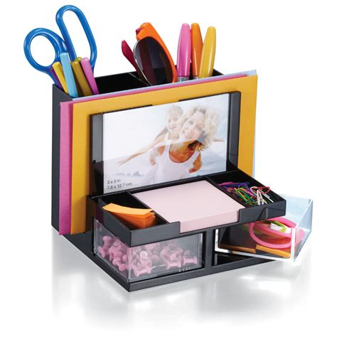 versaplus desk organizer black clear