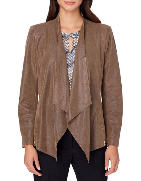 draped jackets tahari draped open front jacket in brown lyst