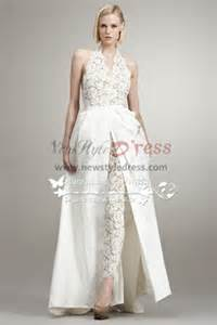 Ruched Draped Skirt Fashion Wedding Pants Dresses Lace Jumpsuit With