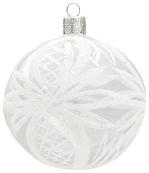 large glass ball ornament with white ribbons