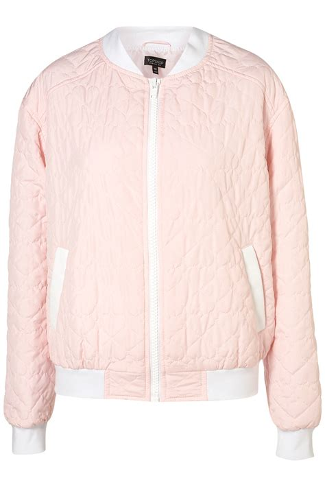 Topshop Quilted Bomber Jacket by Topshop Quilted Bomber Jacket In Pink Lyst