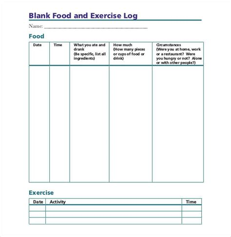 food and exercise diary template food log template 29 free word excel pdf documents