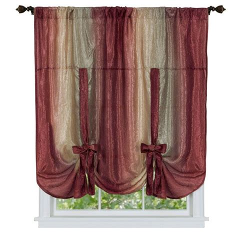 Tie Up Curtains Achim Burgundy Ombre Tie Up Shade Curtain 50 In W X 63 In L Omtu63bu06 The Home Depot