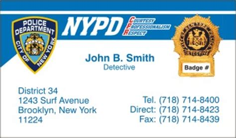 Nypd Business Card Template by Business Cards Nypd Choice Image Card Design And Card
