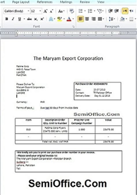purchase order format in word free download