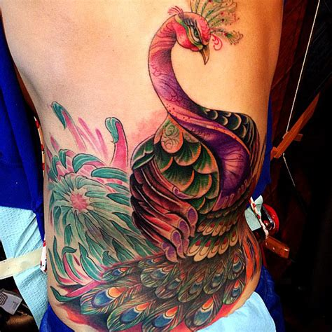 peacock back tattoo new school artists orange county los angeles