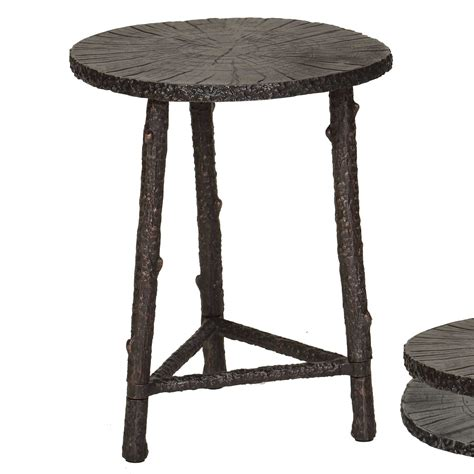 Rustic Accent Table Pictured Is The Rustic Branch Accent Table With Cast Aluminum Table Top And Aluminum Frame With