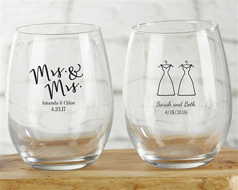 Wedding Favors Stemless Wine Glasses by Personalized Mrs And Mrs 9 Oz Stemless Wine Glass My