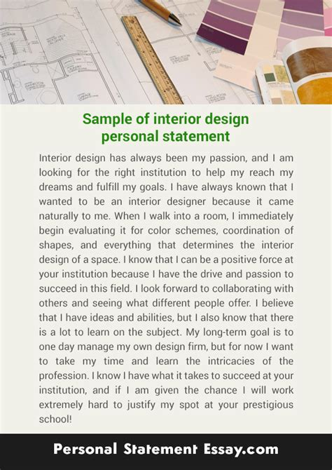 Exle Resume Fashion Design Personal Statement the interior design personal statement is a spot on the
