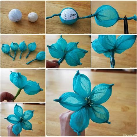 diy beautiful tissue paper flower using a golf
