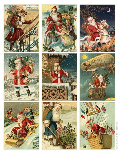 printable santa postcards free to download printable vintage santa tags or cards