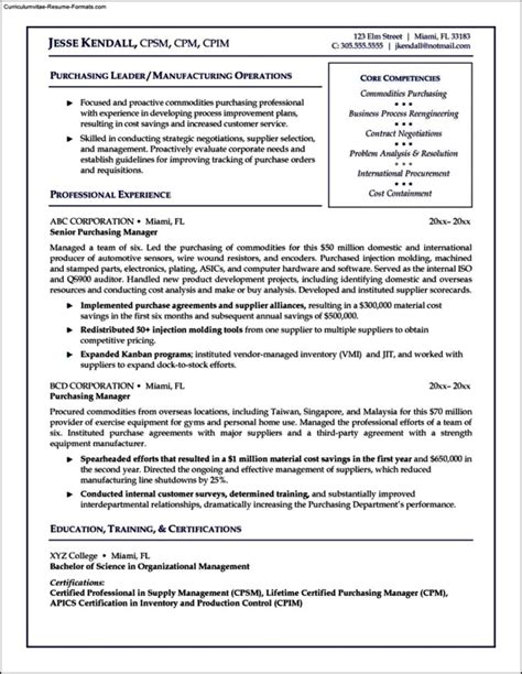 Purchasing Manager Resume by Purchasing Manager Resume Template Free Sles