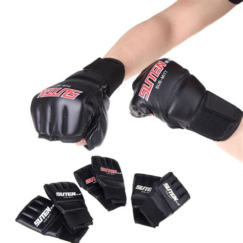 Thai Boxing Gloves 1pair tripleclicks 1 pair pu leather half mitts mitten mma muay thai punching sparring
