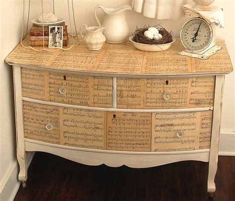 Decoupage Dresser - dishfunctional designs upcycled sheet crafts