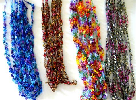 pattern for ribbon yarn pattern for crocheted yarn ladder ribbon yarn necklace