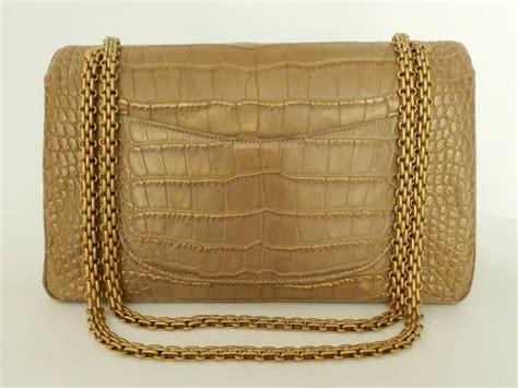 Chanel Semi Shiny Alligator Shopping Bag by Chanel Matte Gold Crocodile Alligator 2 55 Reissue Flap