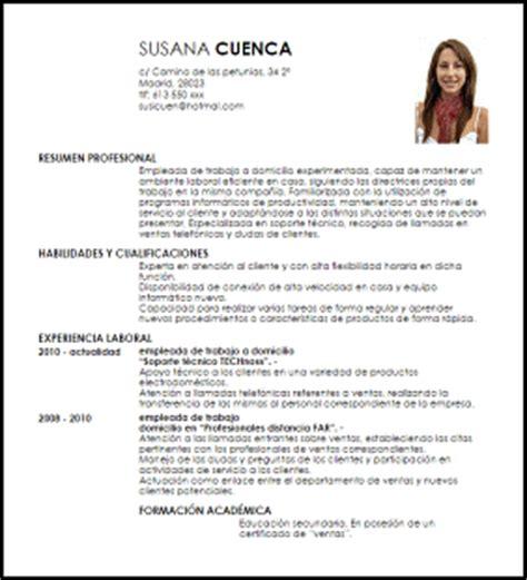 Modelo De Curriculum Para Trabajo Peru Modelo Curriculum Vitae Empleada De Trabajo A Domicilio Livecareer