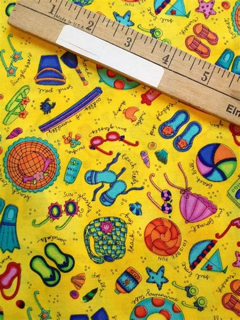 Themed Quilt Fabric by Summery Seashore Themed Quilting Fabric 1 2 Yard