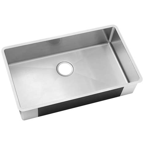 Stainless Steel Undermount Kitchen Sinks Single Bowl Elkay Crosstown Undermount Stainless Steel 32 In Single Bowl Kitchen Sink Hdu32189f The Home