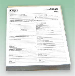 waste consignment note template duty of care waste transfer note printing personalised