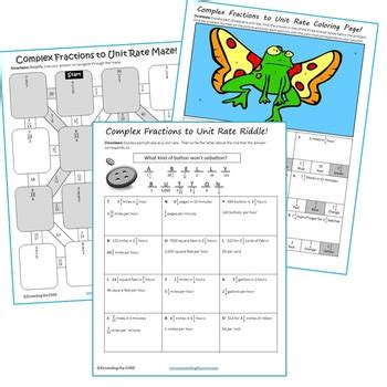 unit rate coloring page complex fractions to unit rate maze riddle coloring page