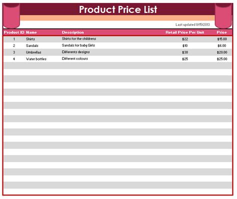 product price list template printable templates