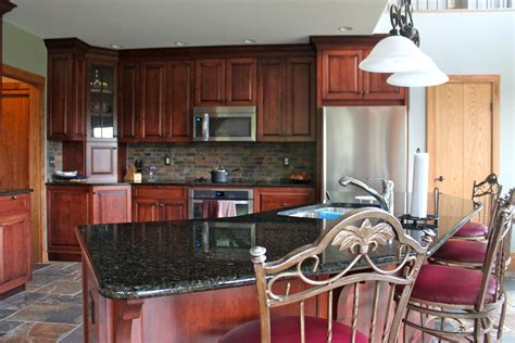 kitchen paint colors with cherry cabinets wood match grey granite countertop white daybed sofa