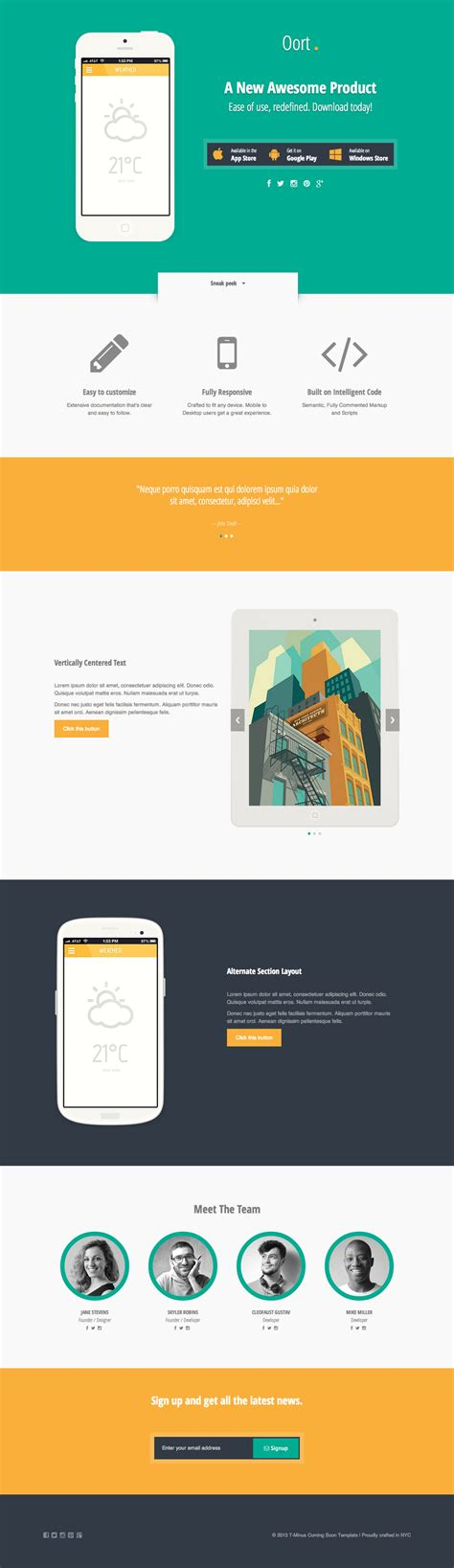 oort app landing page template by kalel06 on deviantart