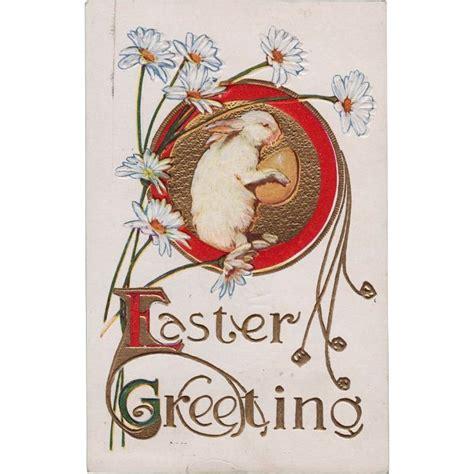 Vintage Easter Figurine Shop Collectibles - vintage easter greeting postcard white rabbit holding egg