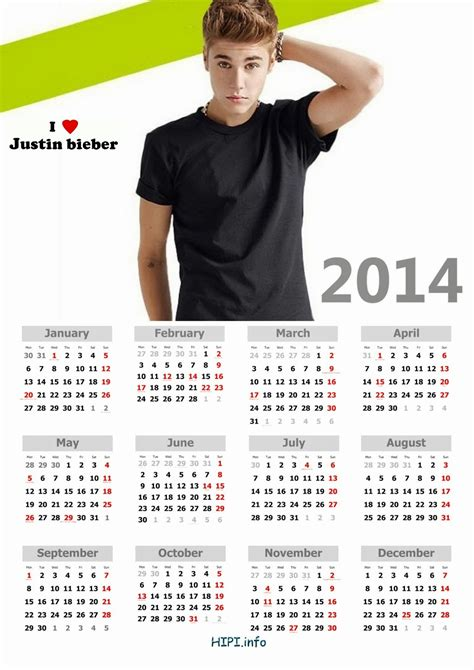 justin bieber template justin bieber printable pictures 2015 calendar template 2016