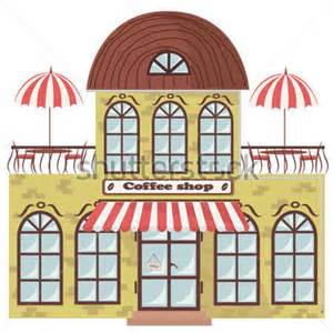 Cape Cod Front Door - vector illustration of building with a coffee shop in it
