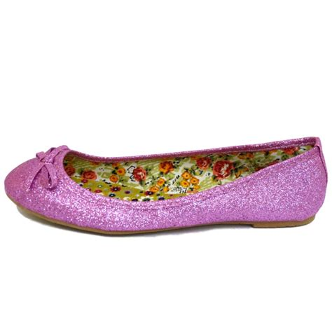 glitter flat shoes uk flat pink glitter slip on dolly comfy ballet