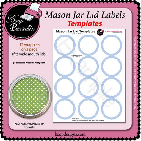 jar label templates jar lid label template 5294 by boop printable designs