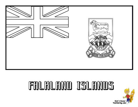 Distinguished Flag Pictures Coloring Nations Falkland Fiji Flag Coloring Page