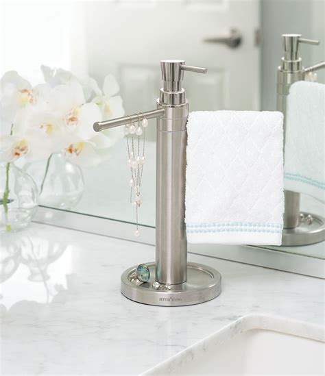 bathroom countertop towel stand countertop towel valet soap dispenser combo