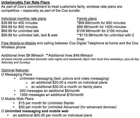 cox plan cox quot unbelievably fair quot wireless launches pays cash for