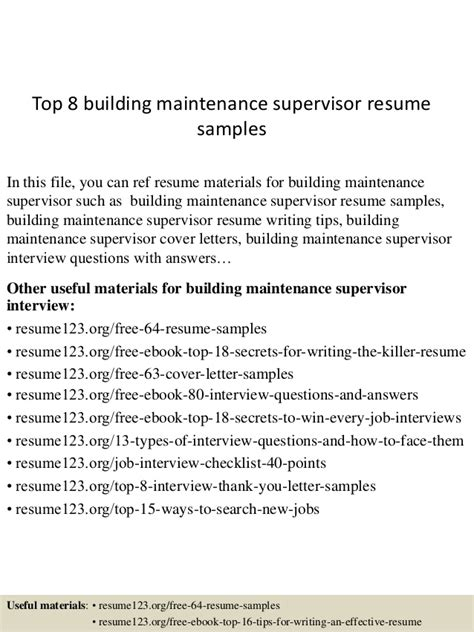 Building Maintenance Supervisor Sle Resume by Resume For Building Maintenance Supervisor 28 Images Lastcollapse Just Another Resume