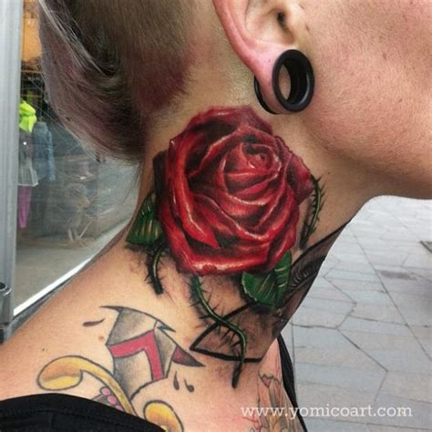 neck tattoo realistic realistic flower neck tattoo by yomico art