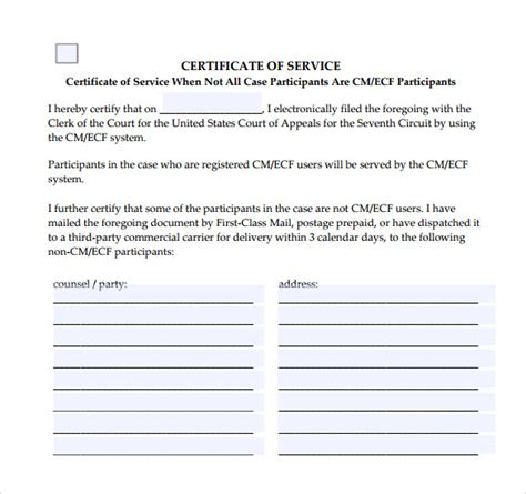 Service Certificate Template by 10 Certificate Of Service Templates To For Free