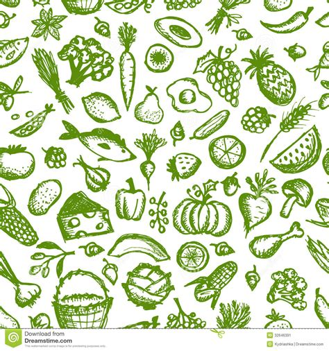 seamless pattern food healthy food seamless pattern sketch for your stock