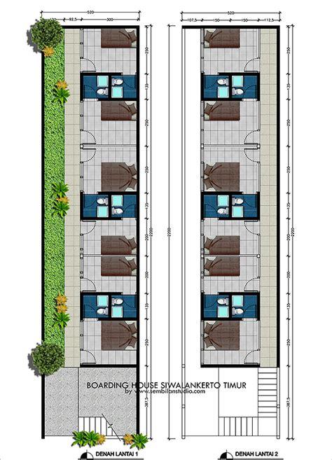 desain rumah kos  lahan memanjang xm sembilanstudio