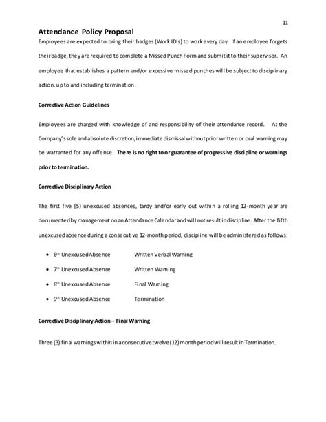 attendance policy template attendance policy